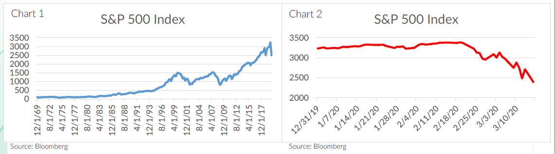 Two charts. Chart 1 is a line graph showing the S&P 500 index from 1969 through 2020; it shows an overall gain over time despite of recessions in 2000 and 2008. Chart 2 shows that same index, but only from December 2019 through March 2020; it shows only a drop in February 2020.